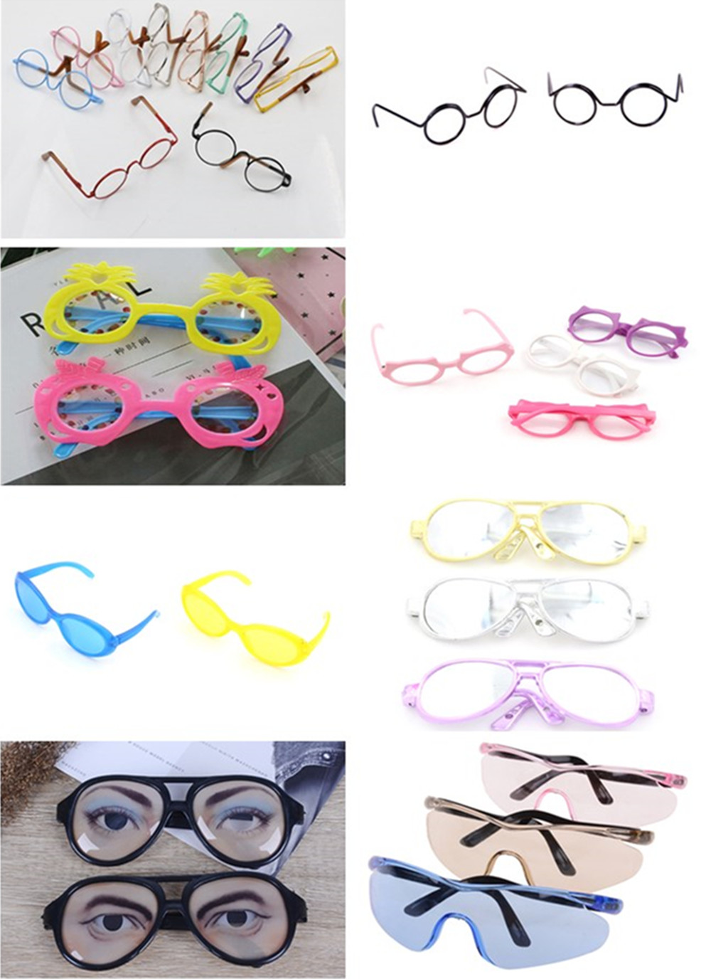 Colorful Glasses Round Glasses Suitable For BJD Blythe Doll As For  Dolls Sunglasses  Safety Glasses Spectacles Eye Accessories