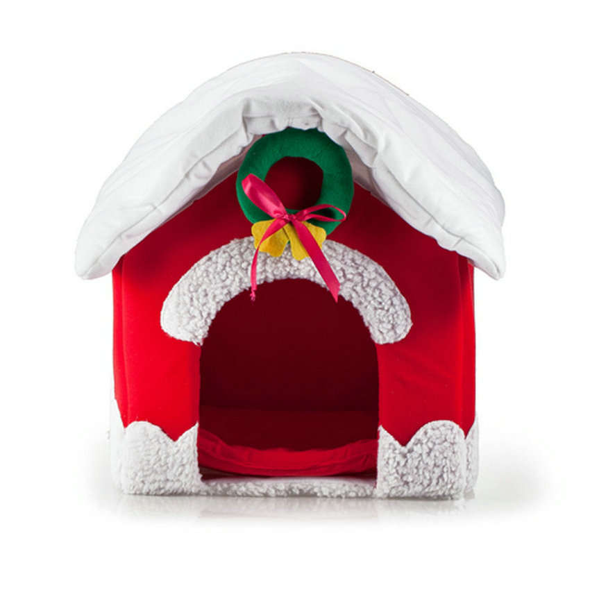 Red Merry Christmas Pet Kennel Flamboyant Luxury dog mat Personality Red Christmas dog home cat bed house cat little mat blanket