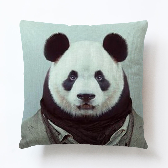 US $3 95 19% OFF|Panda Printing Pillow Case Hand Painted Cotton Linen  Pillowcase Printed Pillow Covers Home Pillow Cases 45x45 cm-in Pillow Case  from