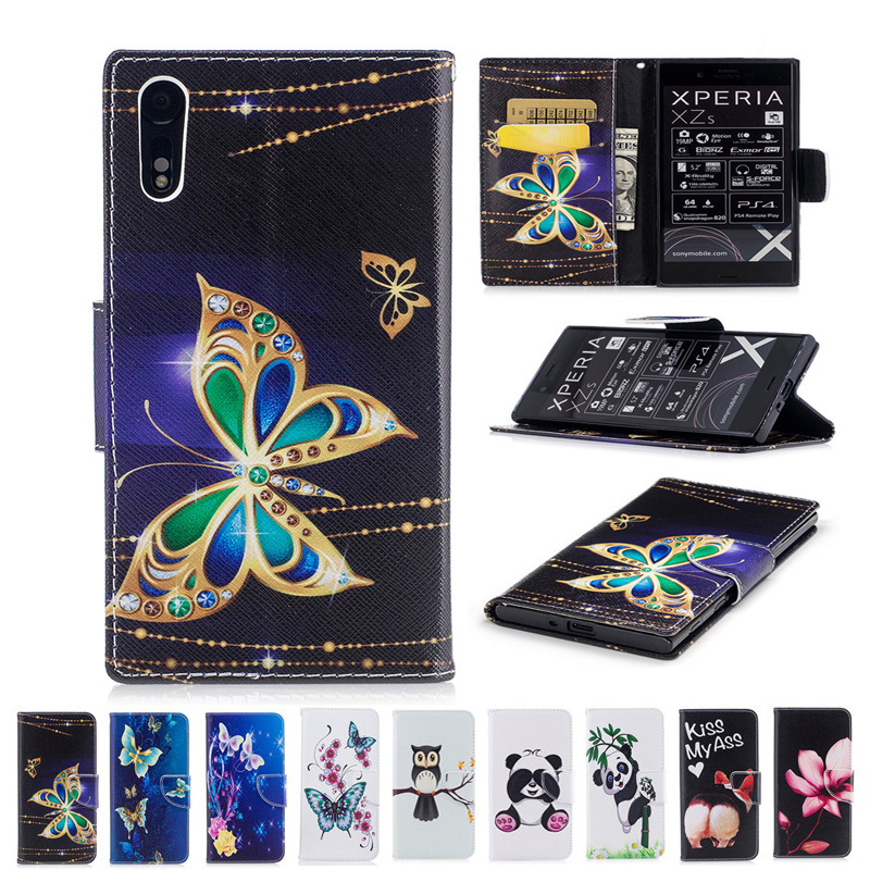 XZS TPU Case Flower Butterfly Panda Owl Pattern Wallet Leather Stand Cover For Sony Xperia XZ F8331 F8332 XR XZS G8321 G8232 Bag