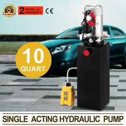 Hydraulic Double Acting Pump 12V DC - 8 Litre Steel Reservoir Industrial