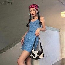 Macheda Summer Women Dress Fashion Blue Red Leopard Basic Slim Spaghetti Strap Mini Dress Lady Casual Bodycon Short Dresses New