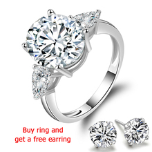 QYI Women Rings Engagement 5 Carat Oval cut Superior grade zircon Bridal 925 Sterling Silver White Gold Color