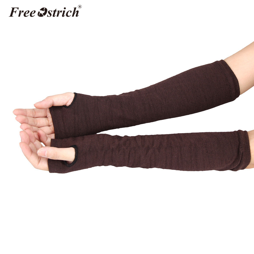 Free Ostrich Long Gloves Women Solid  Winter Autumn Hand Warmer Knitted Long Fingerless Gloves Mitten Guantes Mujer A1620