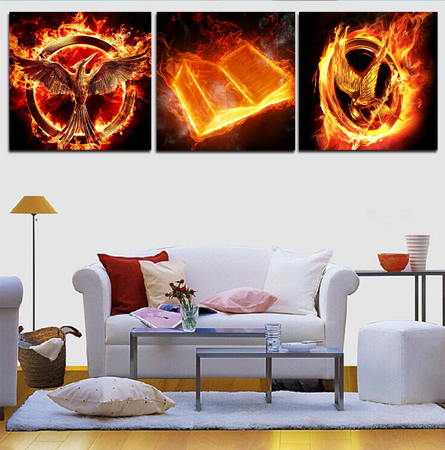 Cuadros Oil Painting 2017 New Sale No Spray Painting Fallout Wall Art Fire Burning 3 Panel Modern Home Decor Pictures On Canvas