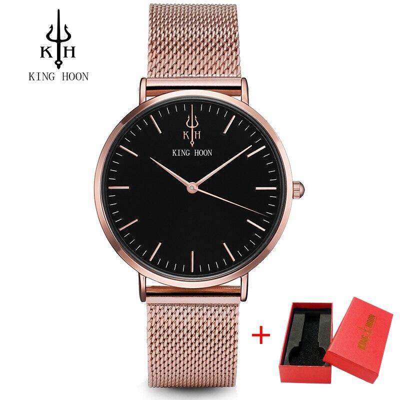 KING HOON impermeable rosa de oro reloj de cuarzo relojes Top marca de lujo reloj chica Relogio Feminino