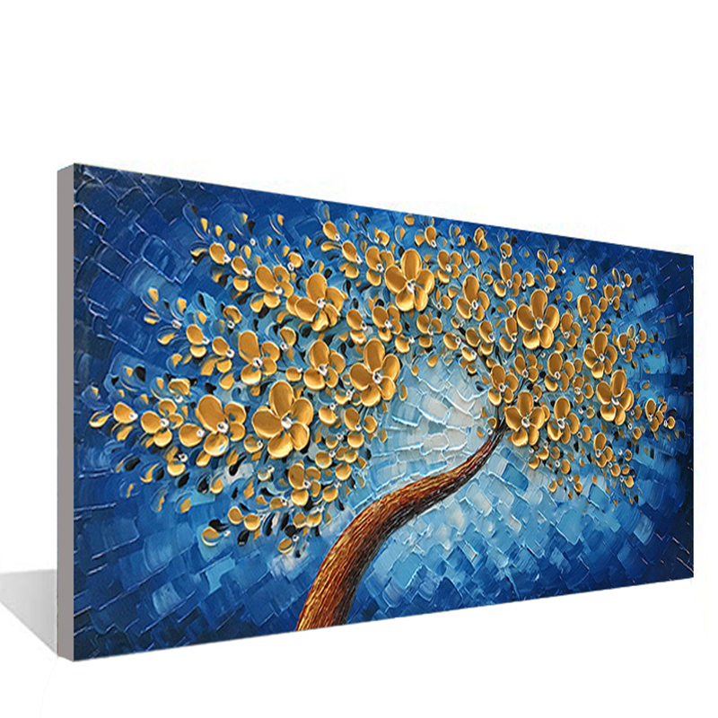 Blue Lucky Tree Modern Canvas Painting In Living Room Dining Room Bedroom Interior Wall Mural Art Hand Painted Oil Painting