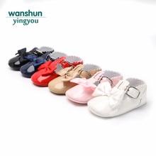 Kūdikių merginos mielas mielas Sandalas Vasaros batai kūdikiams mergaitėms mažiems vaikams minkštieji vieninteliai naujagimiai kūdikiai Slypi PU odai Bowknot Naujiena