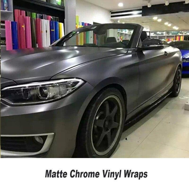 Matte Metallic Satin Chrome Grey Vinyl Car Wrap Sticker Decal Car Body Film Bubble Free 5ft X 65ft/Roll