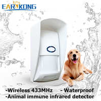 Outdoor Waterproof Wireless Animal Immune Infrared Detector 433MHz Long Working Distance For Home Burglar Wifi /GSM alarm system