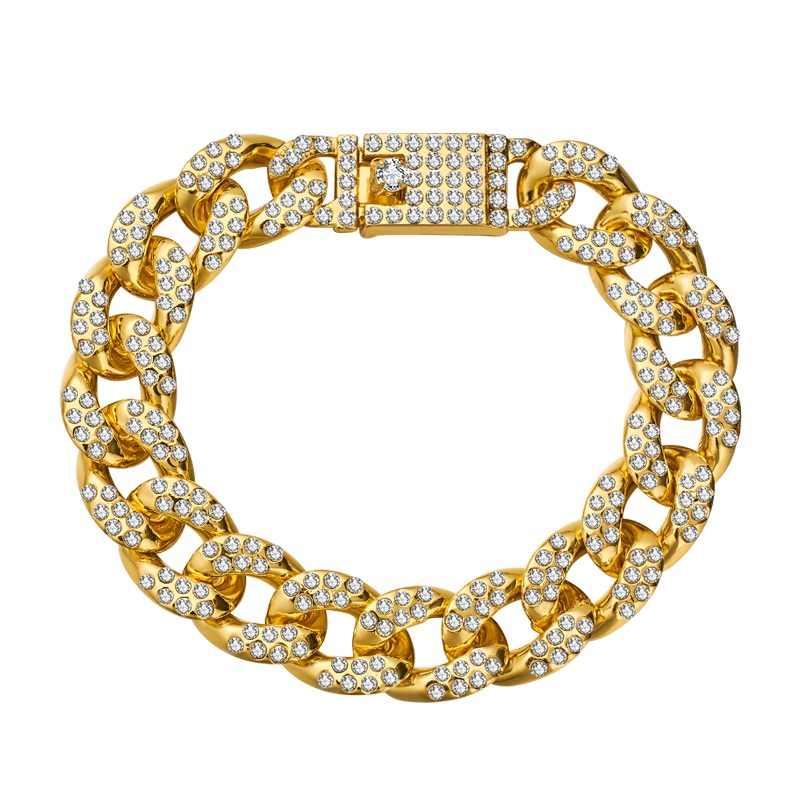 H: הייד גברים של צמיד היפ הופ מיאמי קובני קישור זהב כסף צבע אייס מתוך סלול Rhinestones זכר צמיד רחוב תכשיטים מתנה