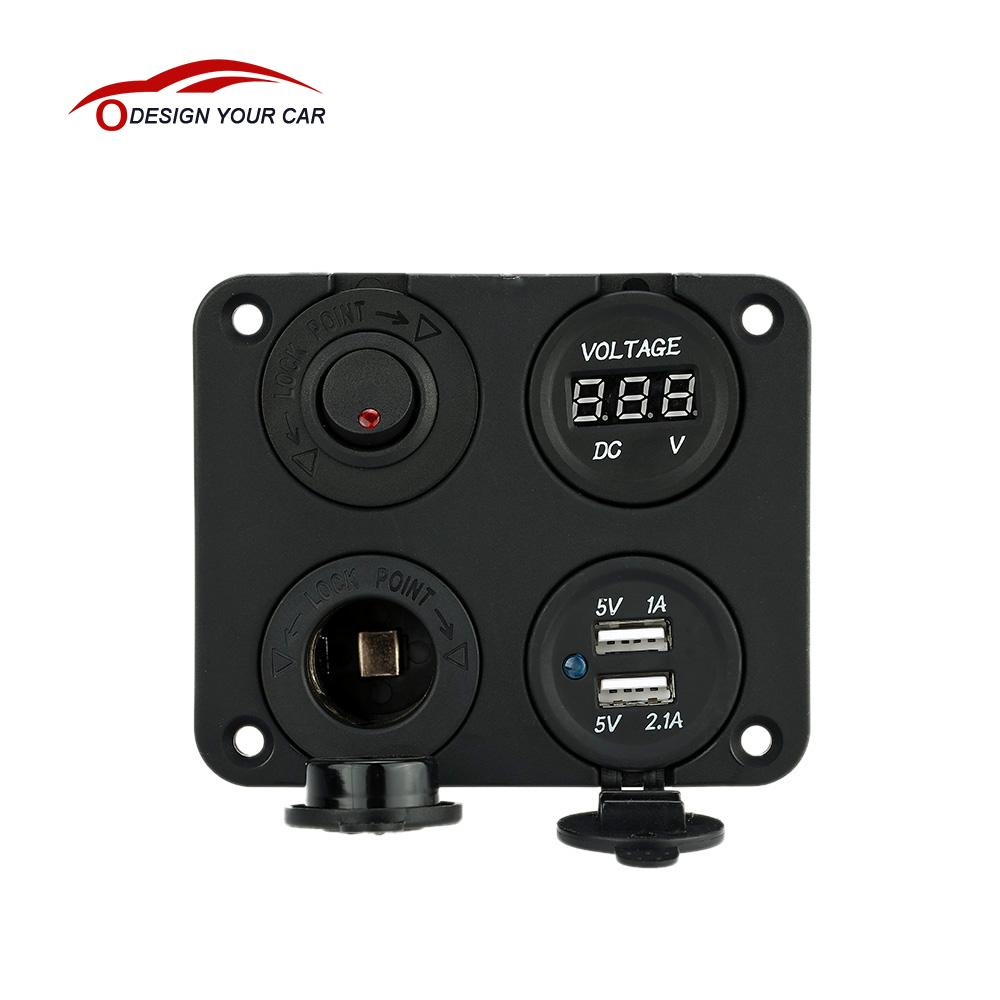 Prix pour Quatre Trou Double USB Prise + Panneau Base + Voltmètre Compteur + Prise d'alimentation ON-OFF Bouton Commutateurs pour Camion Auto Moto Bateau ATV