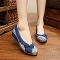 Velha Pequim Sapatos De Linho Mulher Cultural Folk Bordado Sandálias Das Mulheres Sapatos Único sapatos da moda das mulheres do estilo Chinês 35-40