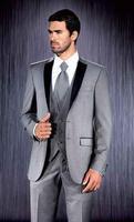 מותאם אישית חתן שמלת חליפת, אפור בהיר best man/חתן חתונה/שמלת ריקוד, slim (מעיל + מכנסיים + העניבה + vest)