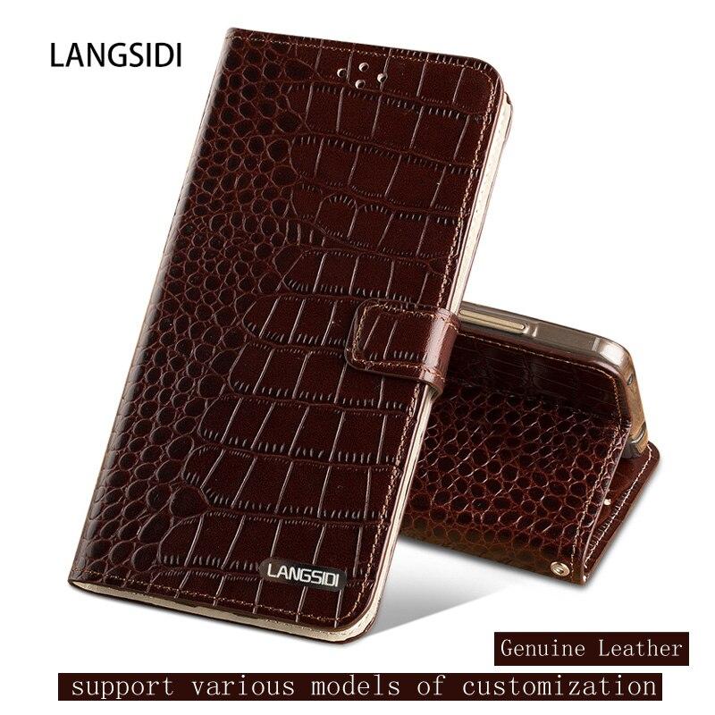 Genuine Leather case For XIaomi Redmi 4 Crocodile texture Flip case magnetic Dual card slots Silicone Soft cover