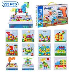223 pçs furadeira elétrica parafuso grupo brinquedo porca desmontagem conjuntos de ferramentas diy 3d puzzle brinquedos crianças brinquedos educativos crianças presente