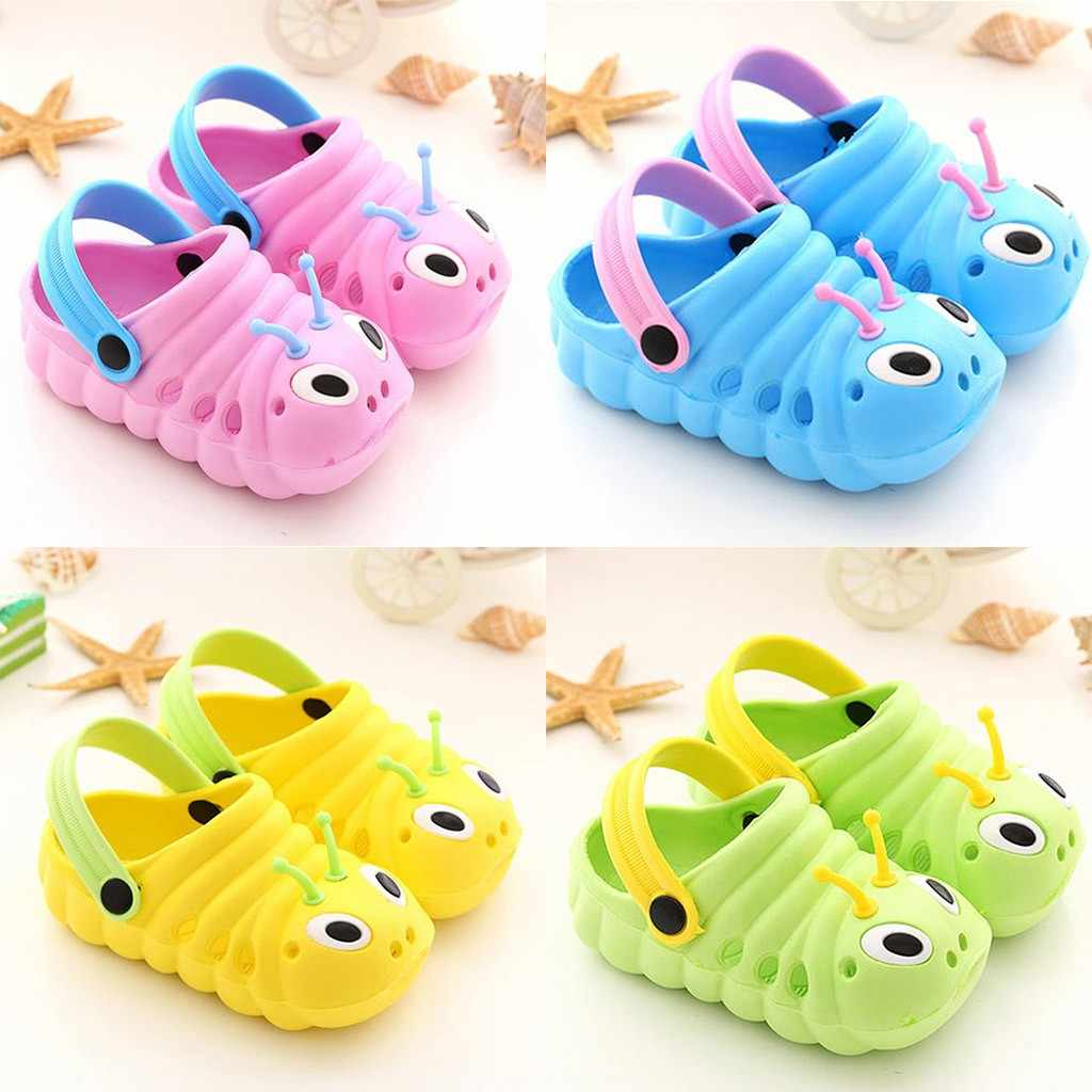 Children's caterpillars non-slip shoes baby shoes slings baotou shoes children's flat not tied with sets of slippers 2019 summer