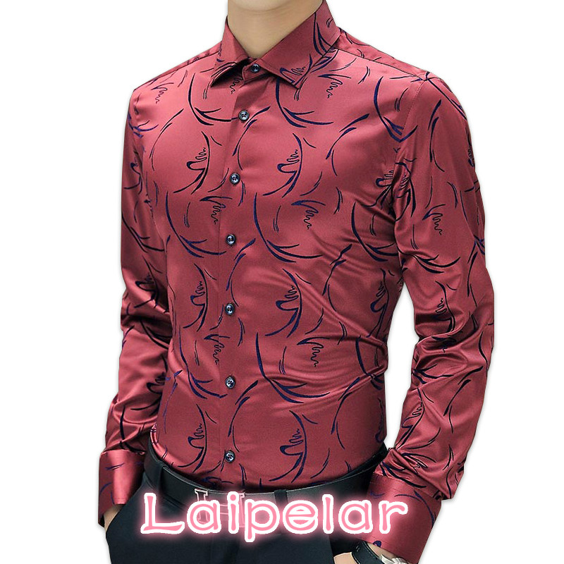2018 New Arrival Luxury Brand Mens Formal Shirts Long Sleeve Floral Men Shirt Tuxdeo Shirt Designer Shirts Plus Size 5XL ...