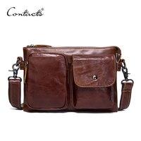 CONTACT S Genuine Leather Men Bag Casual Fashion Men Messenger Bag Brand Design Dark Borwn Crossbody