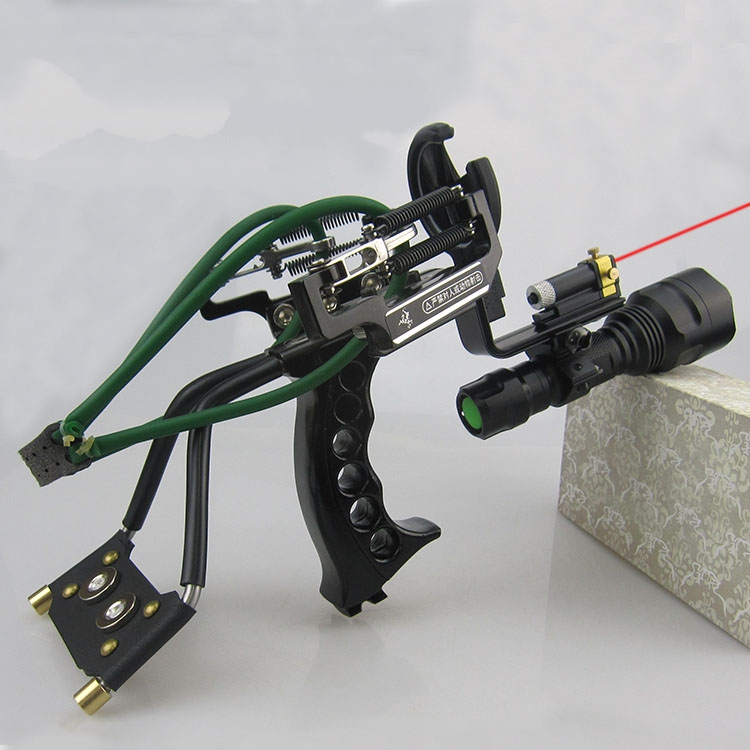 High Quality Powful Aluminum Alloy Multifunction SlingShot Shooter With Arrow Rest For Hunting Outdoor Rubber Band Catapult Bow outdoor bow fishing arrow with bowfishing arrow broadhead fiberglass shafts 6pcs and 1 pc bow fishing slingshot catapult
