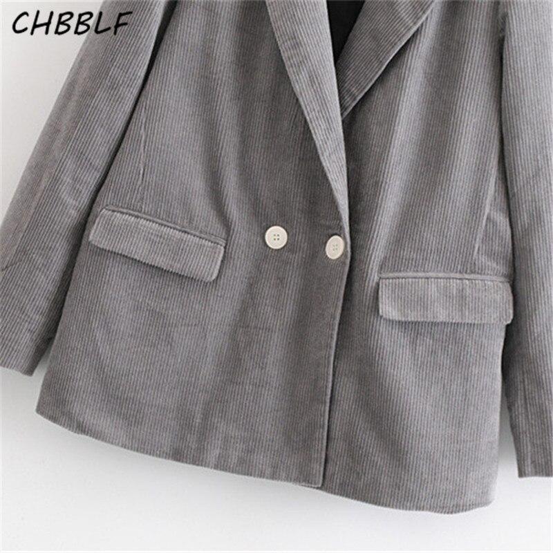 Femme Gris Manches Chbblf Femmes Poches Wear Top À Blazer Élégant Velours Longues Solide Casual Costume Manteau S1747 aw1CqwP
