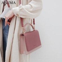 Contrast color Leather Crossbody Bags For Women 2019 Travel Handbag Fashion Simple Flap Shoulder Messenger Bag bolsa feminina