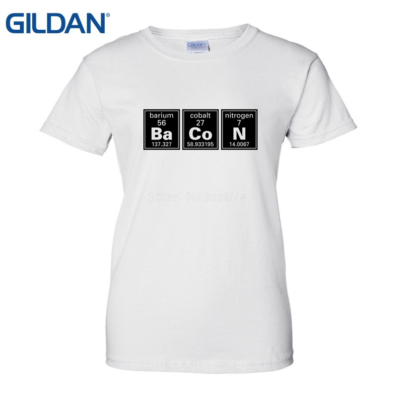 US $14 5 |Chemistry Of Bacon Periodic Table Tee Shirt Design A Shirt Online  T Shirt Women High Quality Tees Cotton Letter Printed T Shirts-in T-Shirts