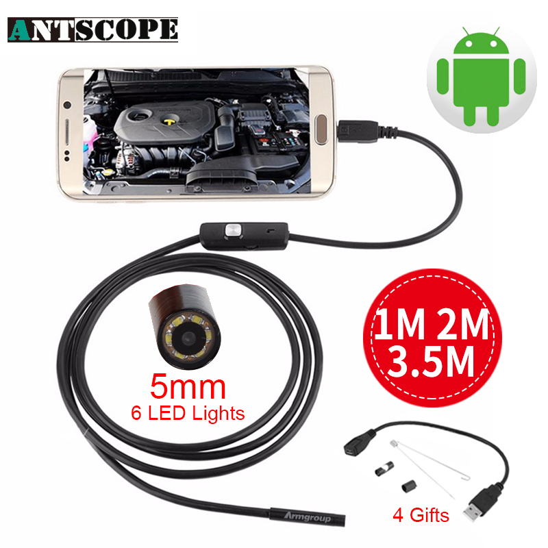 Antscope 3.5m 2m 1m Micro USB Android Endoscope Camera 5.5mm len Snake Pipe inspection Camera Waterproof OTG Android Endoscope 7mm lens mini usb android endoscope camera waterproof snake tube 2m inspection micro usb borescope android phone endoskop camera