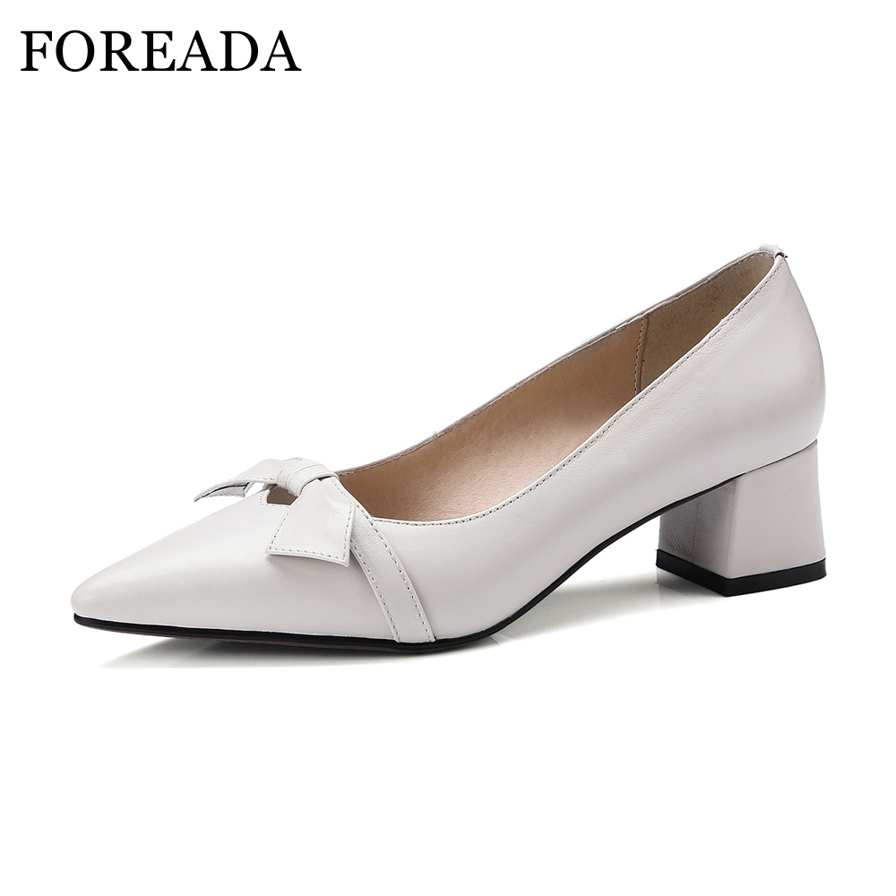 FOREADA Thick Med Heels Genuine Leather Shoes Women Pumps Bow-knot Pointed Toe Casual Shoes 2018 Pumps Slip On Ladies Shoes Pump women genuine leather slip on pointed toe lazy shoes sweet bow knot shallow party spring autumn women pumps black pink