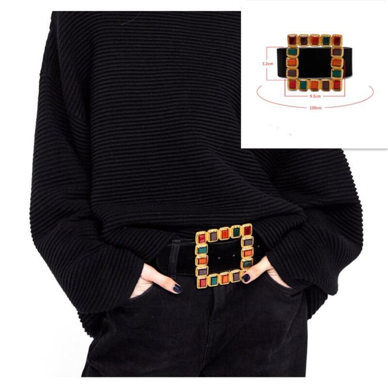 Vintage Colorful Diamond Square Buckle Belts For Women Faux Leather Wide Black Belt Jeans Women's Fashion Luxury Brand Designer