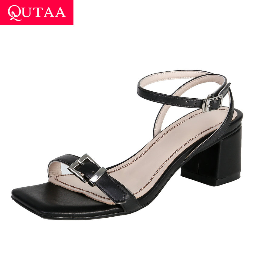 QUTAA 2019 Square High Heel Open-toed All Match Women Sandals Fashion Buckle Slingback Concise Summer Ladies Shoes Size 34-39QUTAA 2019 Square High Heel Open-toed All Match Women Sandals Fashion Buckle Slingback Concise Summer Ladies Shoes Size 34-39