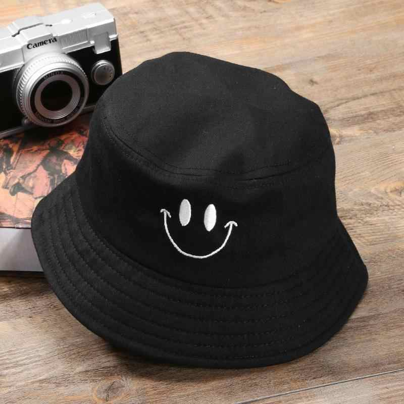 2018 Smile Face Outdoor Bucket Hat Unisex Cotton Embroidery Fishing Sunscreen Bucket Hat Casual Men Women Fisherman Hat
