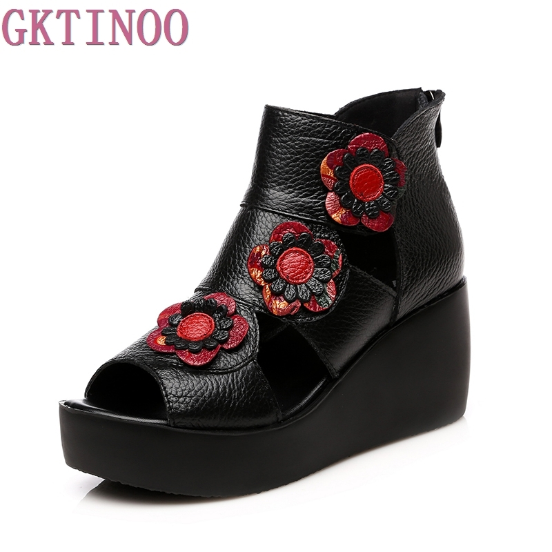 Women Genuine Leather High Heel Platform Sandals Ladies Wedges Sandals 2017 Summer Shoes