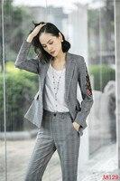 Новинка 2019, деловой Элегантный женский Блейзер серого цвета, женские деловые костюмы со штанами и курткой, комплект женских штанов, цветочн
