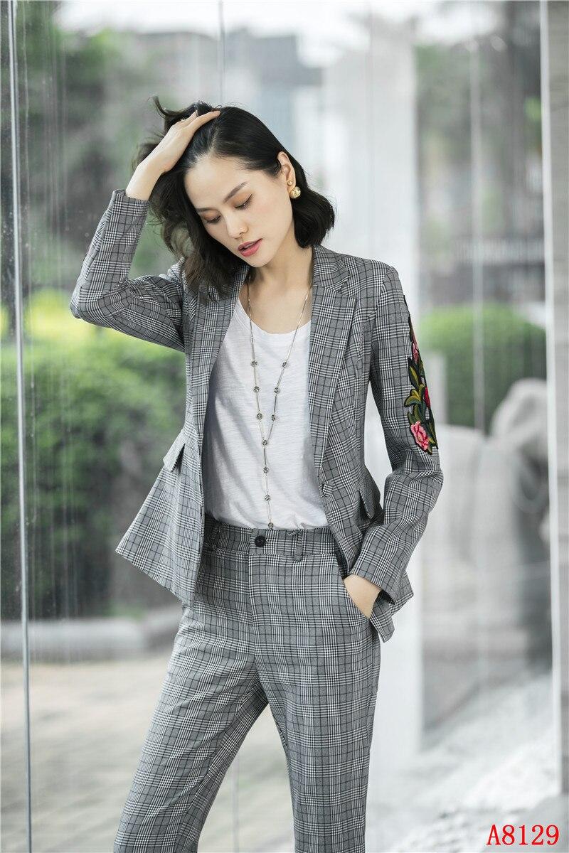 767245d32fbae Ol Blazer Femmes Nouveau Ensemble Et Avec Élégante Formelle D'affaires  Pantalon Dames Pantsuits Women'sgrey Veste Costumes 2019 ...