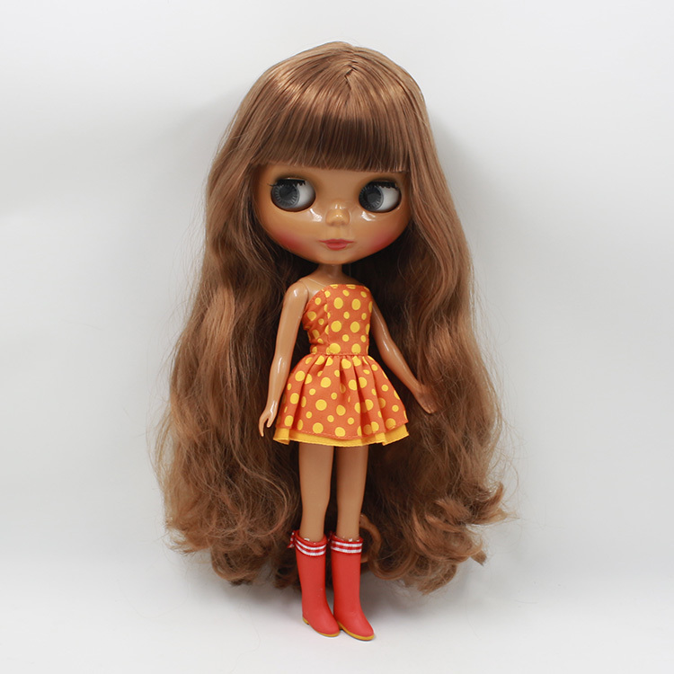ICY Free shipping factory Nude blyth Doll 280BL9158 Brown hair dark skin with bangs fringes bjd