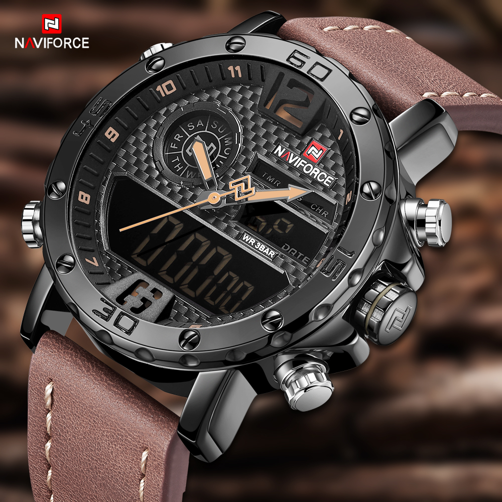 NAVIFORCE Men Watch Top Brand Sport Wristwatch Quartz Watches Military Waterproof Auto Date Display Leather Male Clock Relogio цена и фото