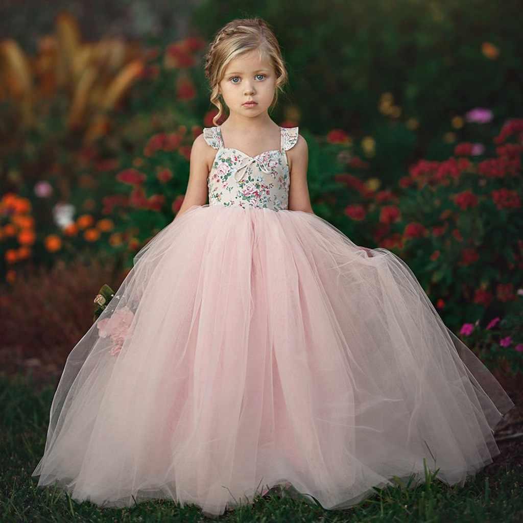 Niños Niñas Sin Mangas Elegante Boda Dama De Honor Vestido