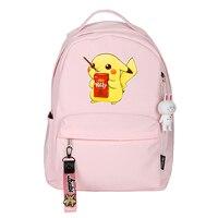2019 Pocket Monsters Kawaii Pikachu Printing Backpack Women Cute Backpack Cartoon School Daypack Pink Travel Backpack Rugzak