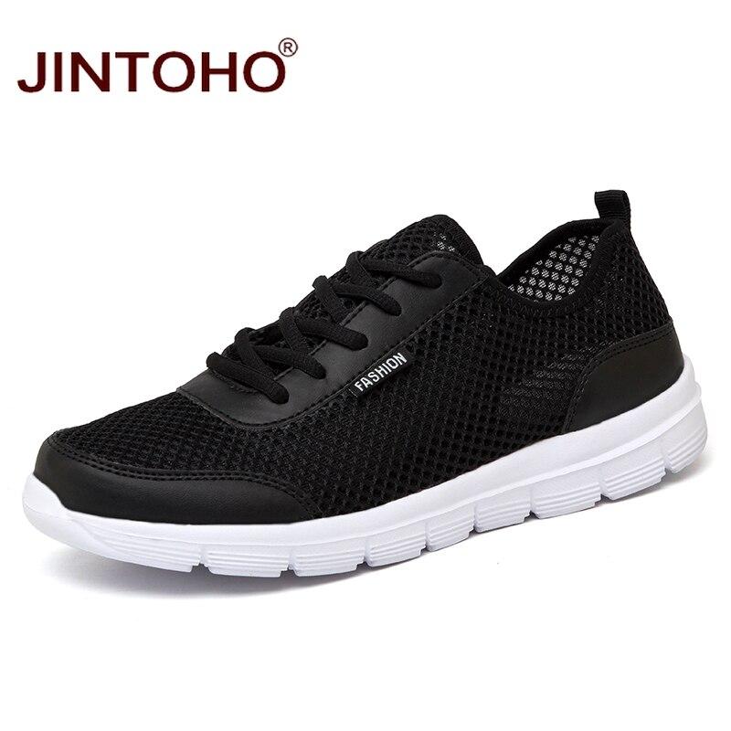 Jintoho/унисекс 2018 модный бренд Повседневное Мужская обувь летние сетчатые мужской Обувь дешевые черная обувь на плоской подошве Спортивная обувь Обувь Повседневное мужские кроссовки 9908