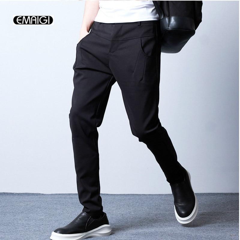 New Mens Slim Fit Casual pant Business Suit Pants high quality Cool Men Hip-Hop Punk Harem Pants Dress Trousers Black 8015