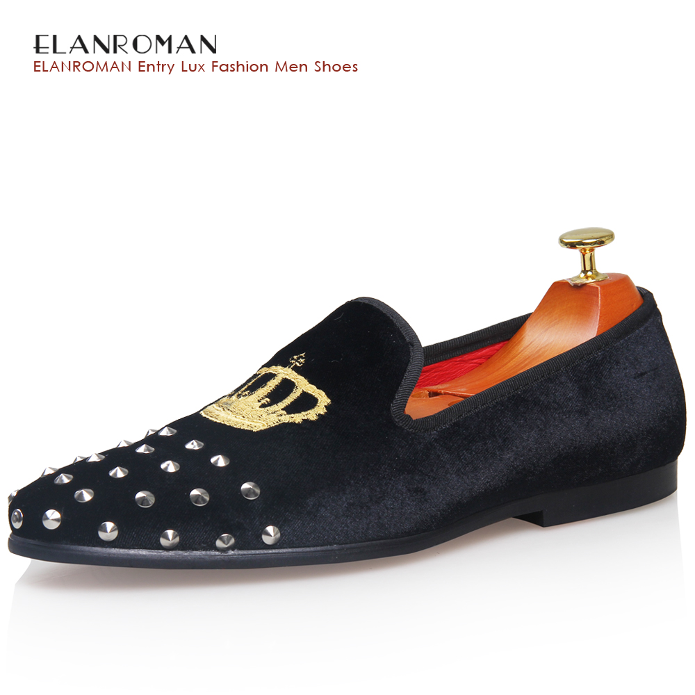 ELANROMAN Handmade Silver Rivet Velvet Shoes Men Vintage casual font b Loafer b font Shoes Fashion
