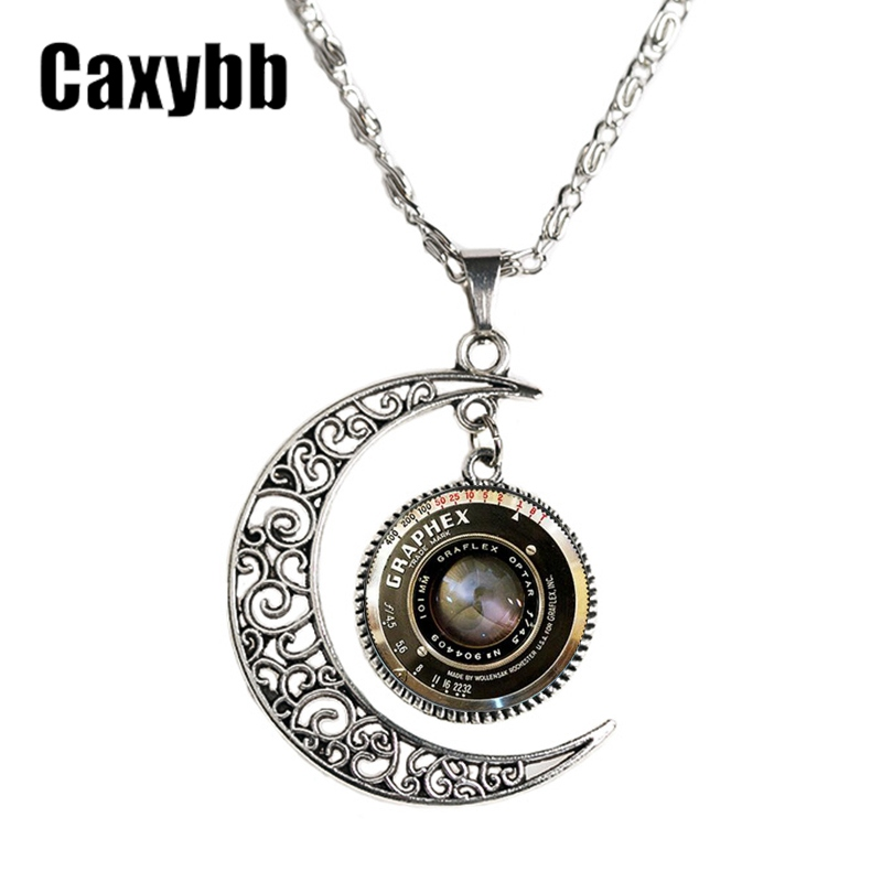 Caxybb jewelry silver moon necklace glass pendant photo christmas caxybb jewelry silver moon necklace glass pendant photo christmas present camera lens camera pendant glass choker necklace n m48 aloadofball Gallery