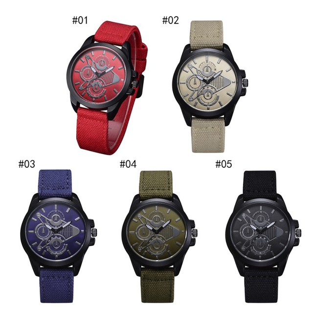 Couple Watch Sports Casual Style Nylon Braided Band Strap Wristwatch For Lover A
