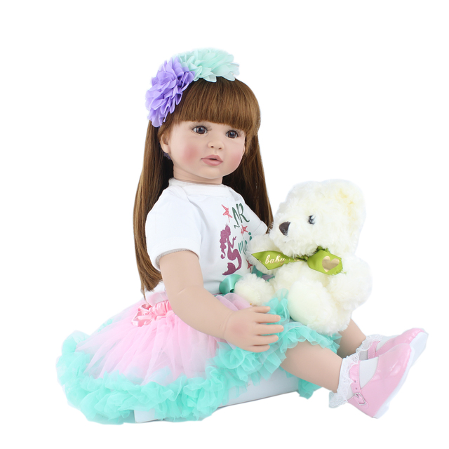 60cm Silicone Vinyl Princess Babies Doll For Kids Reborn Toddler Princess Babies Doll Toy For Girl