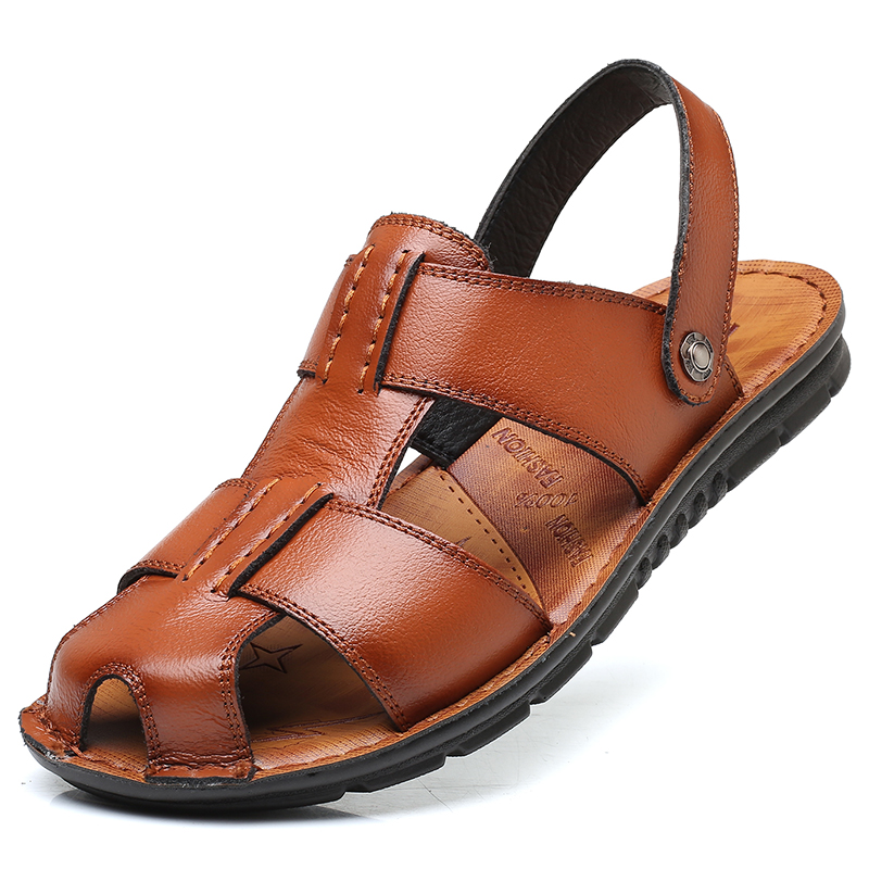 Hot 2019 Big Size Men's Sandals Summer British Fashion Man Genuine Leather Beach Shoes Men Massage Non-Slip Large Slippers Flats