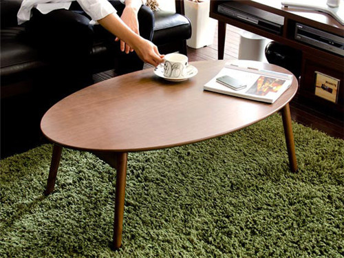 Modern Oval Wood Table Folding Legs Walnut Color Living Room Furniture China Contemporary Low