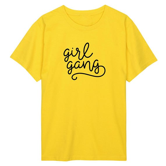 girl gang fun slogan celebs fan japanese harajuku feminist squad T shirt girl power tees pink yellow hip hop women tops