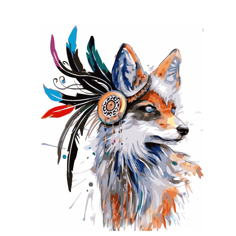 Feather Fox Hand Made Paint High Quality Canvas Beautiful Painting By Numbers Surprise Gift Great Accomplishment