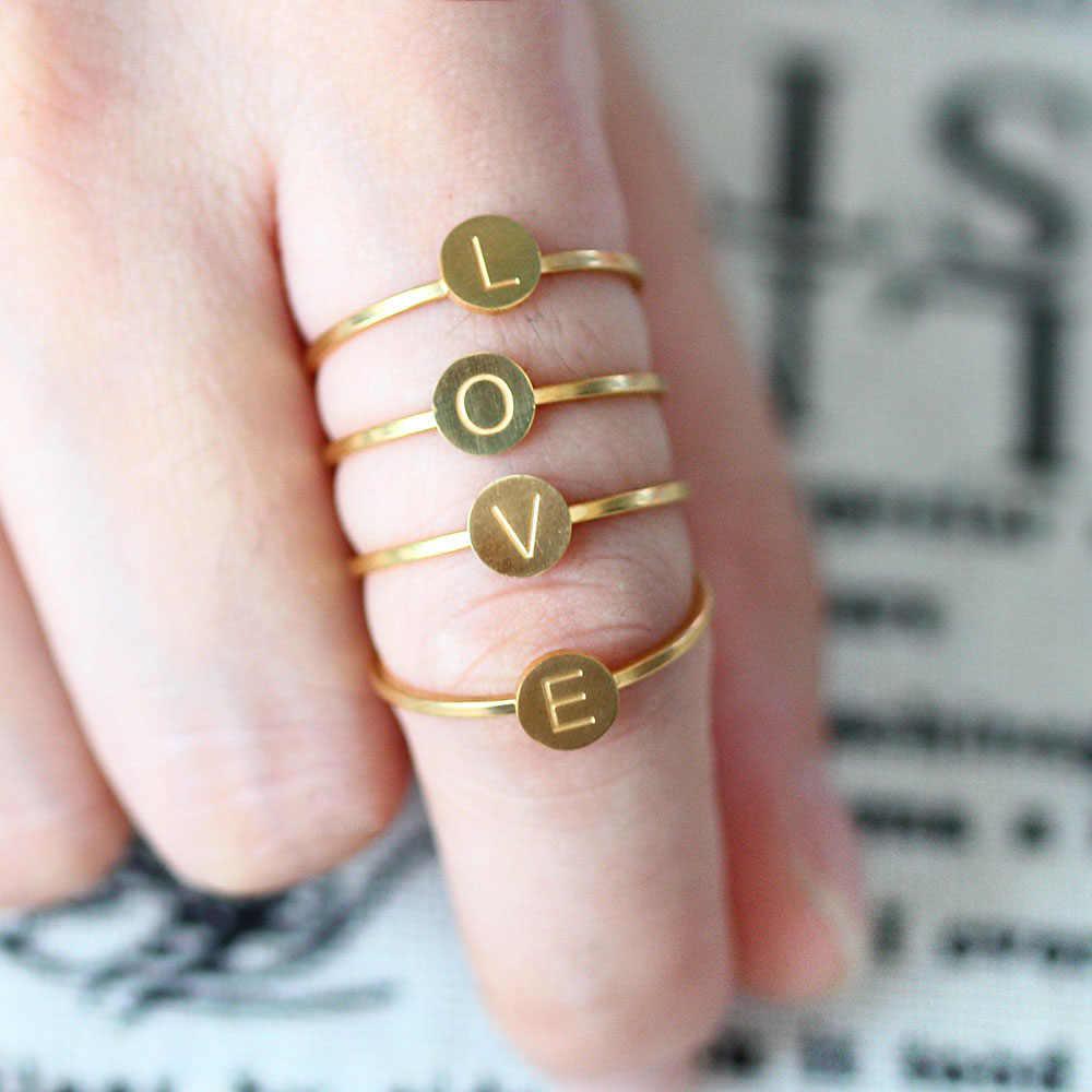 לב מכתב טבעת נירוסטה תכשיטי ringen עבור אביזרי כסף זהב אצבע טבעת סט תכשיטים נשי